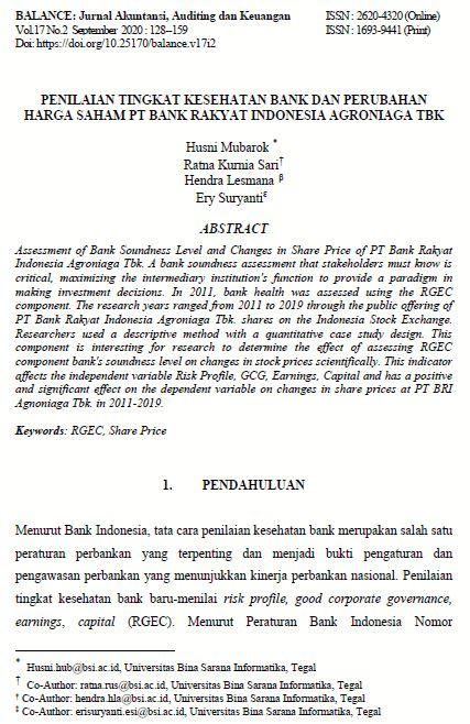 BALANCE: Jurnal Akuntansi, Auditing dan Keuangan, Vol.17 No.2 2020